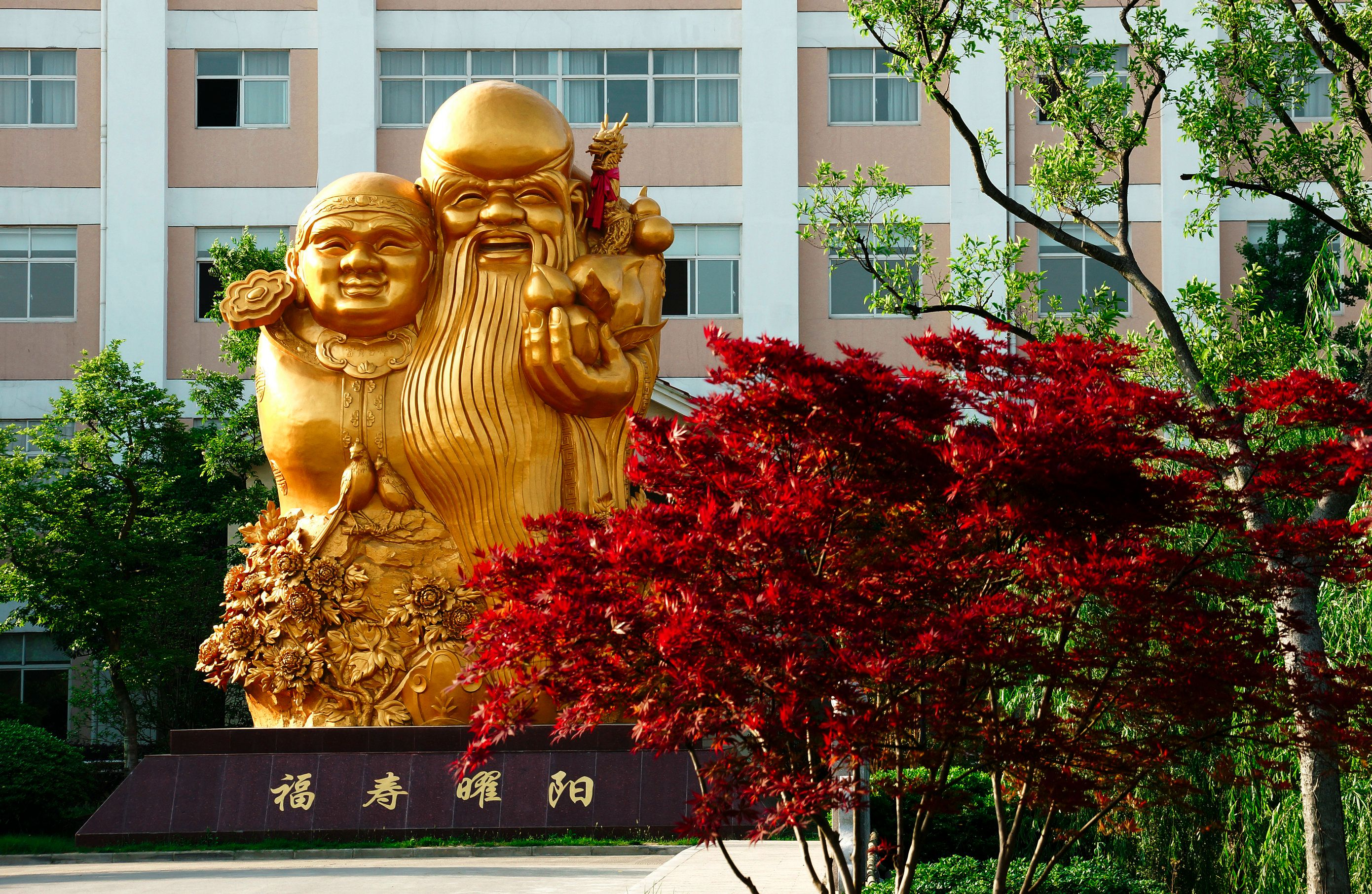 """""""福寿曜阳""""老寿星雕像"""
